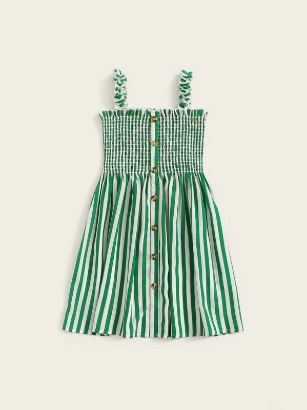Girls Button Front Frill Trim Shirred Striped Dress