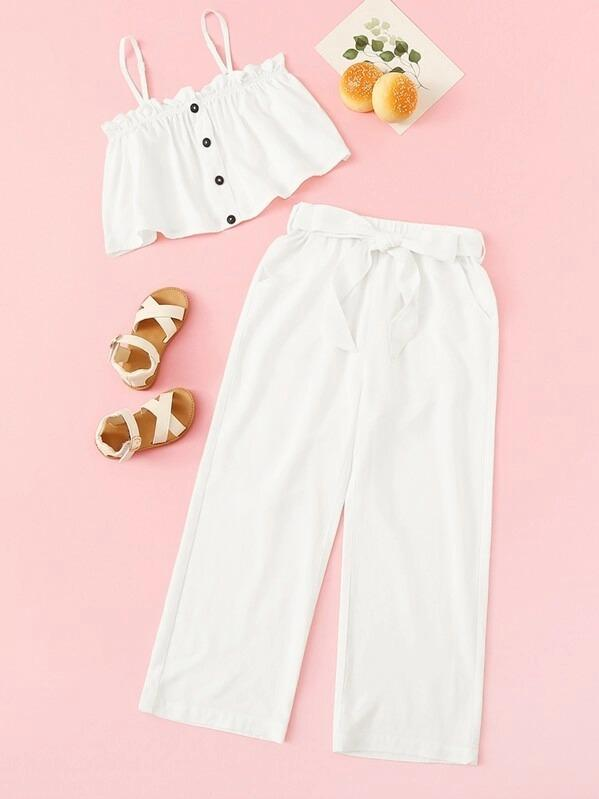 Girls Button Front Frilled Cami & Belted Pants Set