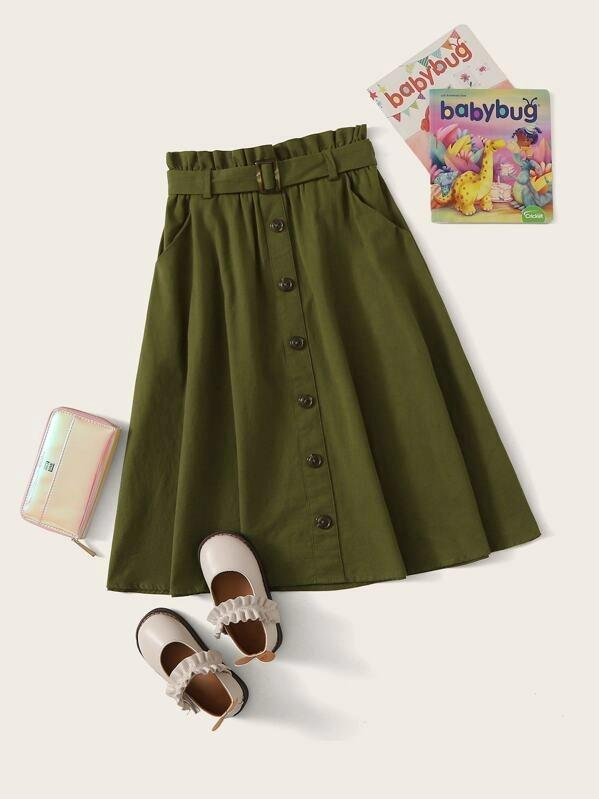 Girls Button Front Paperbag Waist Belted Flare Skirt