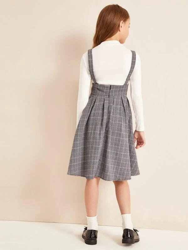 Girls Button Front Pleated Plaid Pinafore Dress