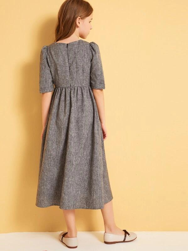 Girls Button Front Pocket Front A-Line Dress