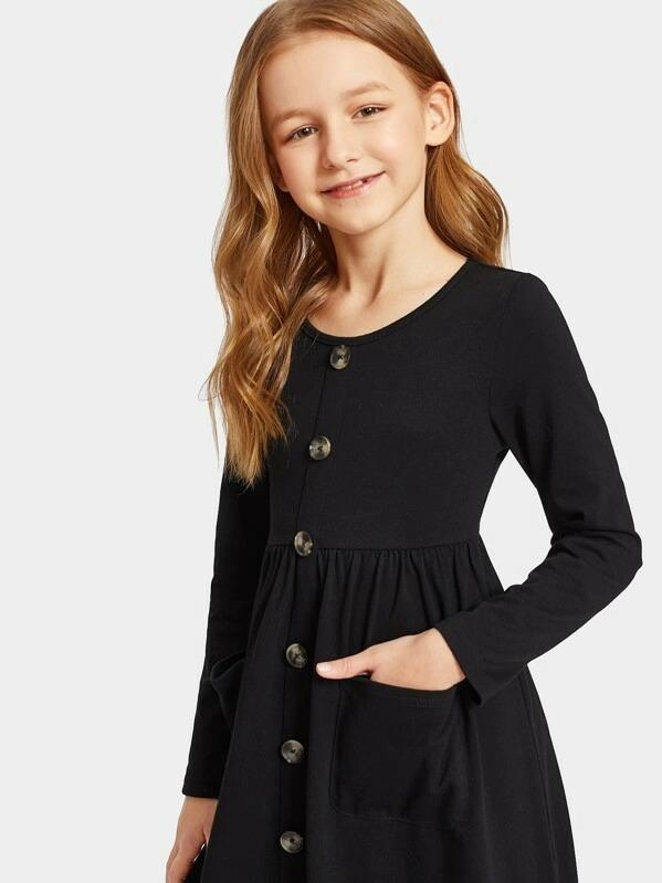 Girls Button Front Pocket Pleated Dress