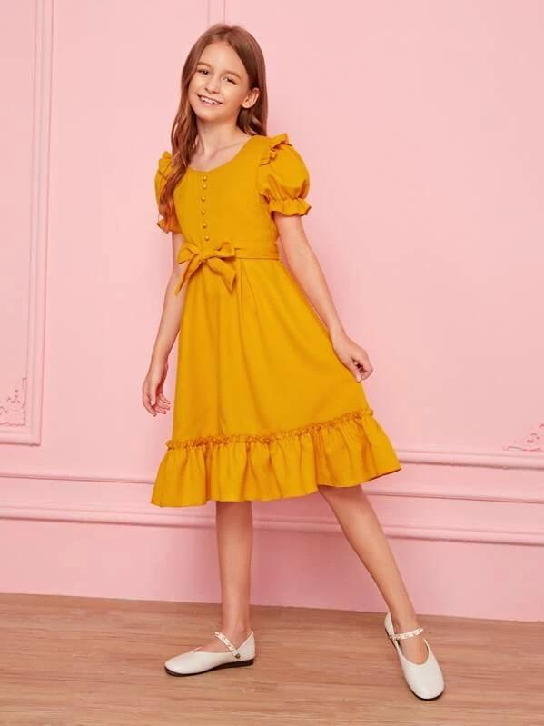 Girls Button Front Puff Sleeve Frill Trim Belted Dress