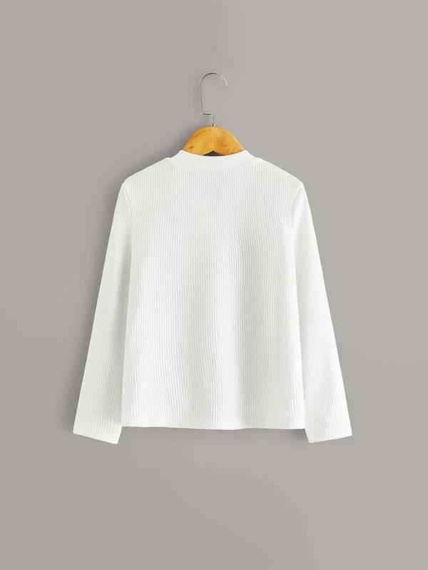 Girls Button Front Rib-Knit Tee