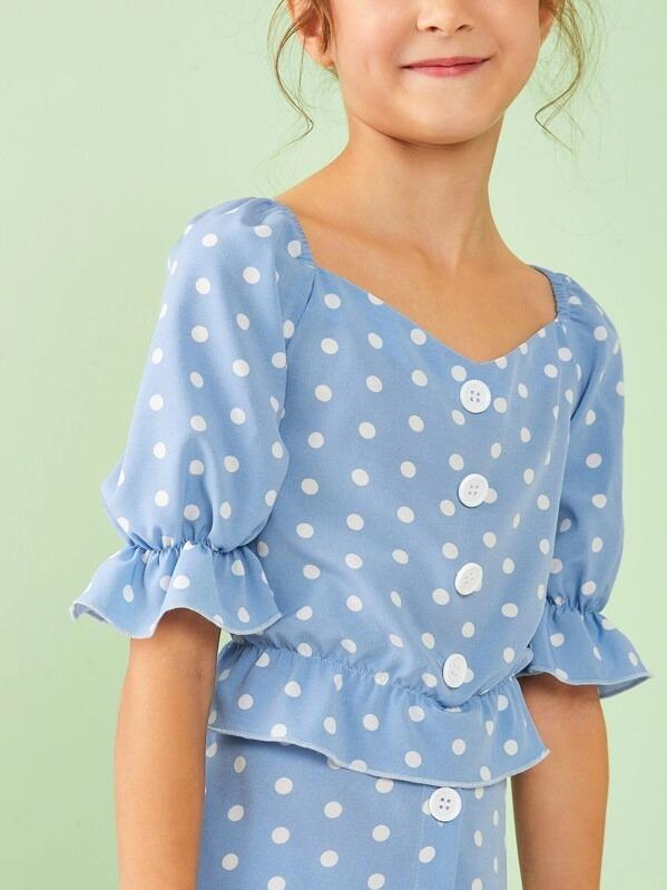 Girls Button Front Ruffle Trim Top & Skirt Set