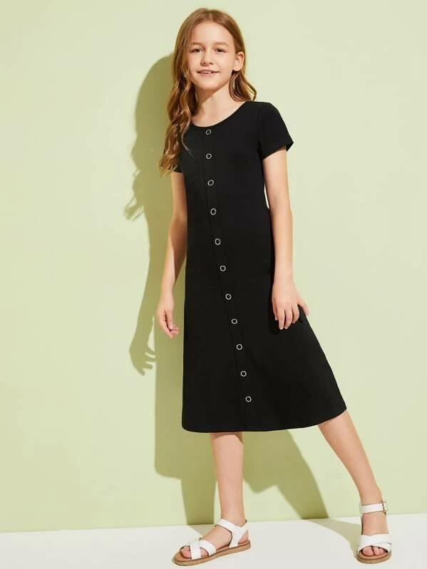 Girls Button Front Solid Dress