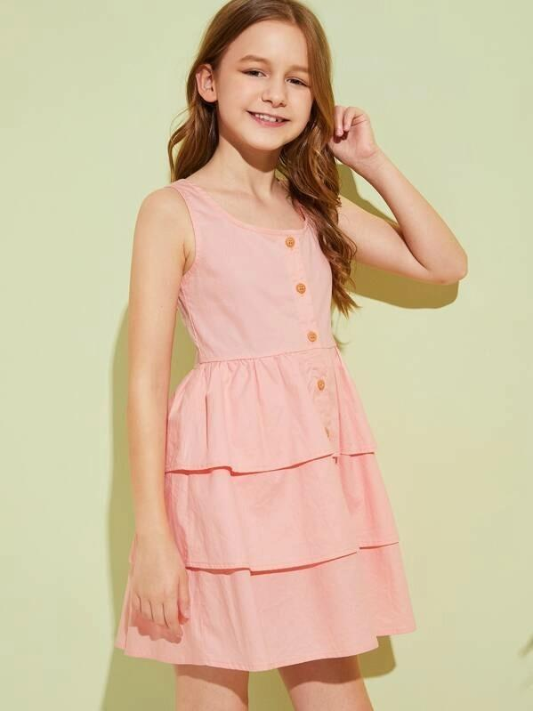 Girls Button Front Tiered Layer A-Line Dress