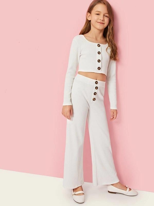 Girls Button Rib-Knit Crop Tee & Pants Set