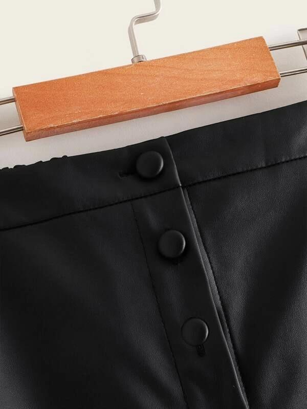 Girls Button Through Faux Leather Skirt