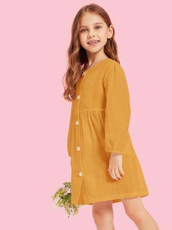 Girls Button Through Solid Dress