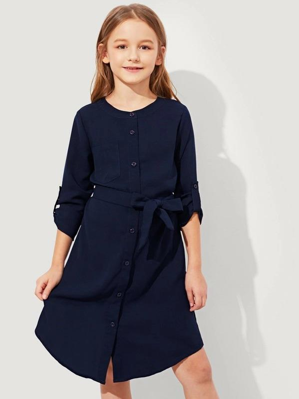 Girls Button Up Belted Dress