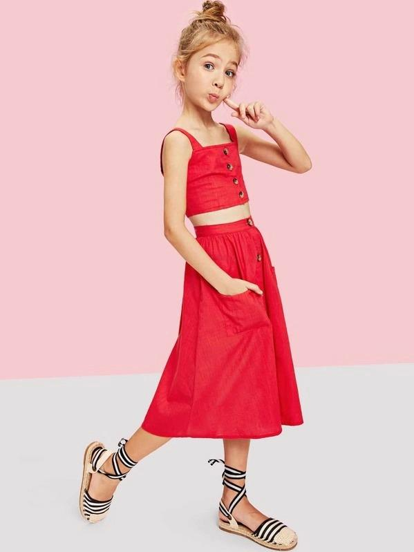 Girls Button Up Crop Top & Pocket Front Skirt Set