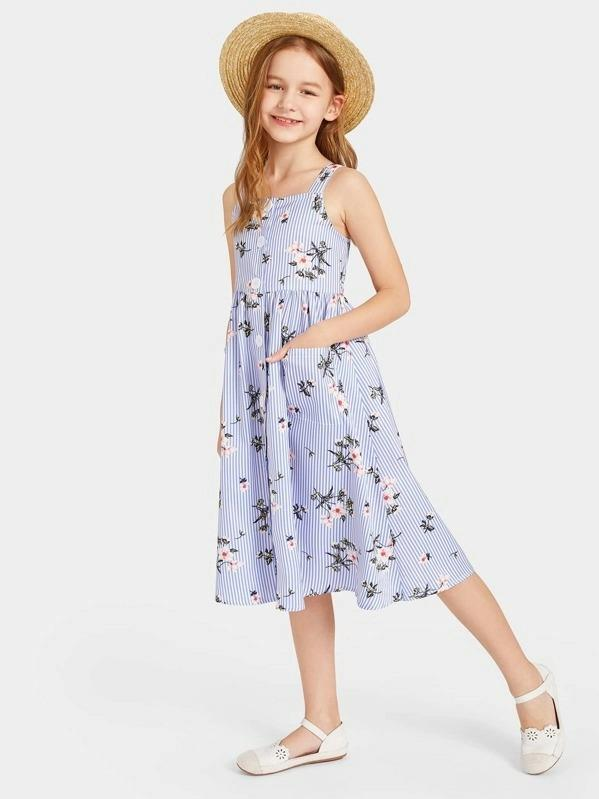 Girls Button Up Floral & Striped Suspender Dress