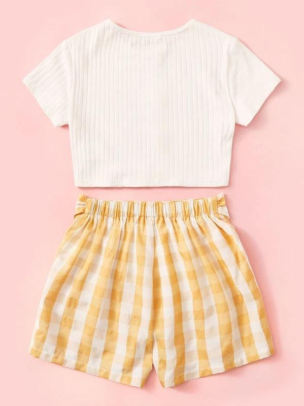 Girls Button Up Ribbed Tee & Belted Gingham Shorts Set