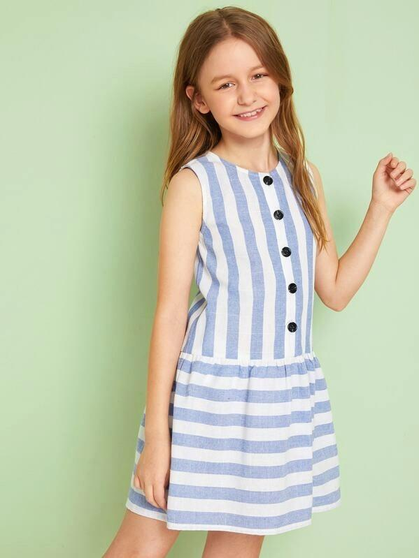 Girls Buttoned Front Drop Waist Striped Dress