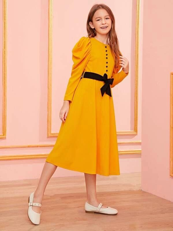 Girls Buttoned Front Puff Sleeve Dress With Belt