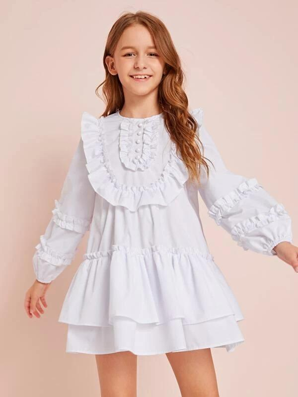 Girls Buttoned Front Ruffle Trim Smock Dress