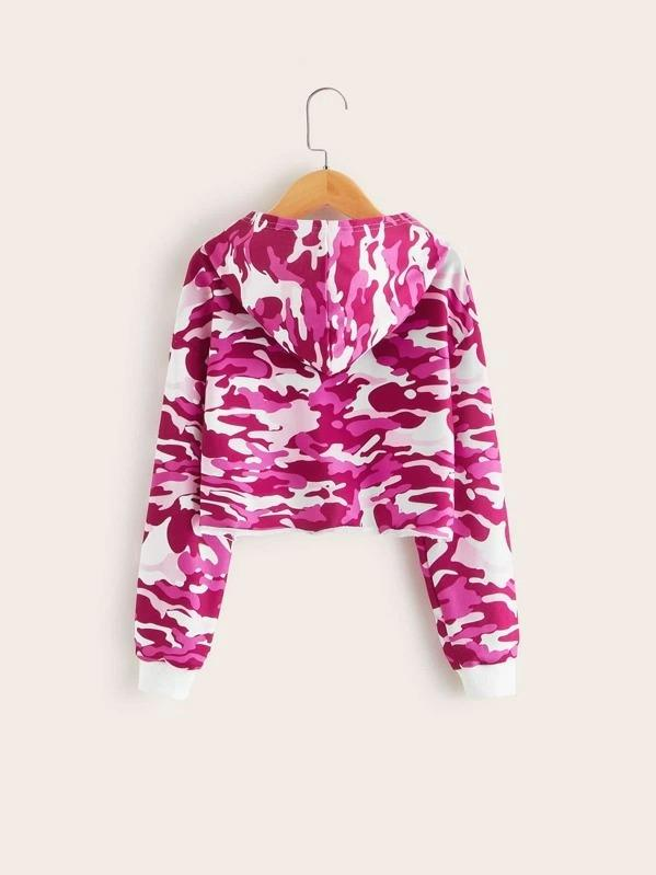 Girls Camo And Letter Print Hoodie