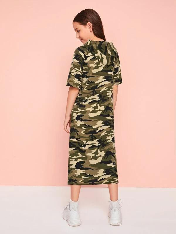 Girls Camo Hooded Tunic Dress