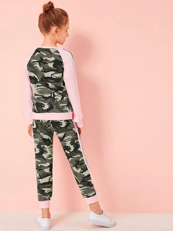 Girls Camo Print Striped Raglan Sleeve Pullover And Pants Set