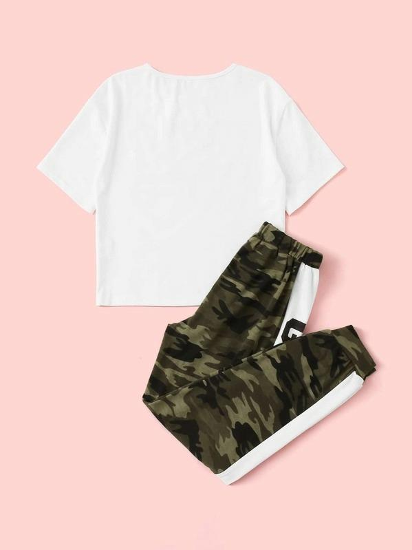 Girls Camo & Slogan Print Tee And Contrast Sideseam Sweatpants Set