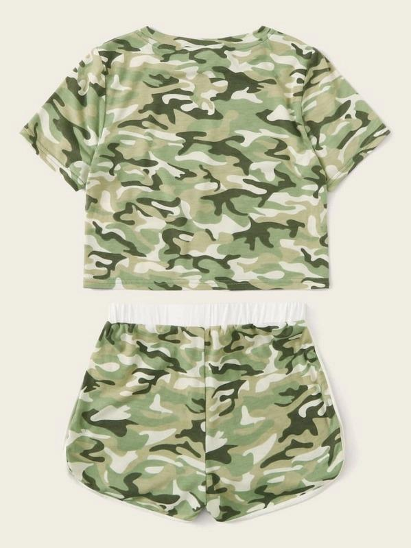 Girls Camo Tee And Contrast Binding Dolphin Shorts Set