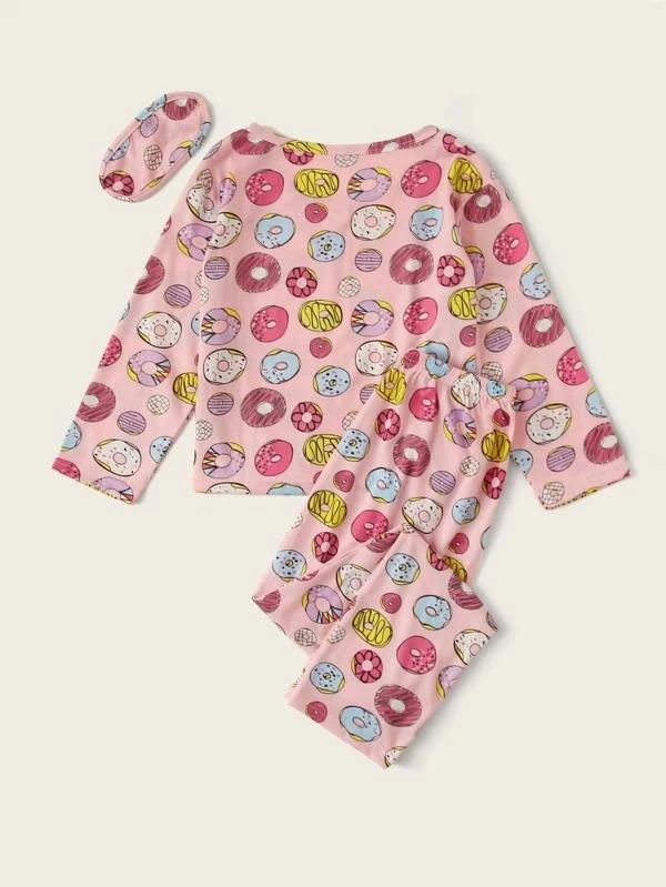 Girls Cartoon Donut Print PJ Set With Eye Mask