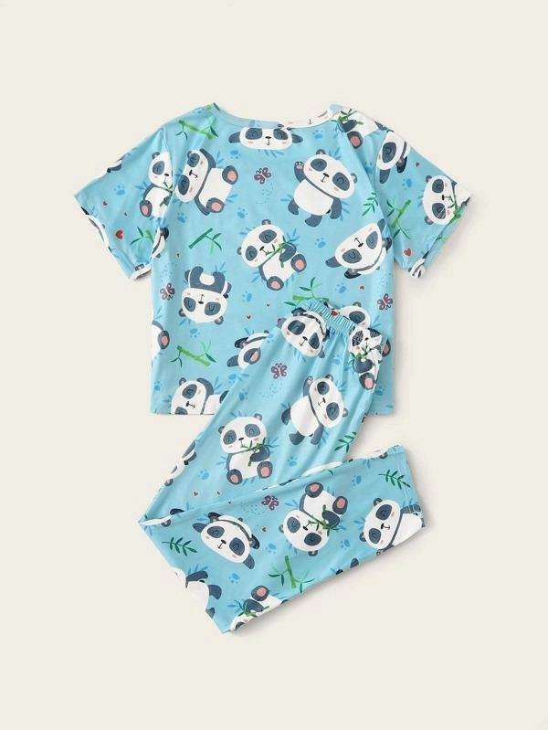 Girls Cartoon Panda Print PJ Set