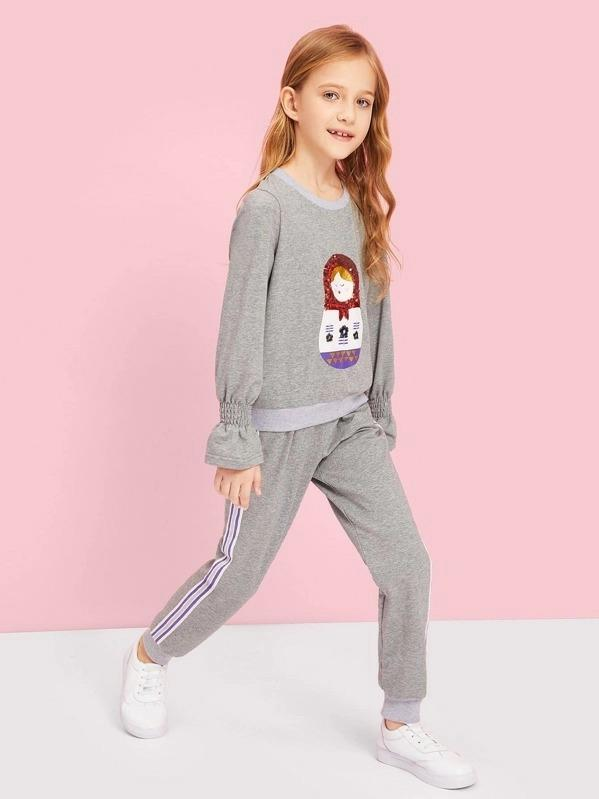 Girls Cartoon With Sequin Detail Top & Pants Set