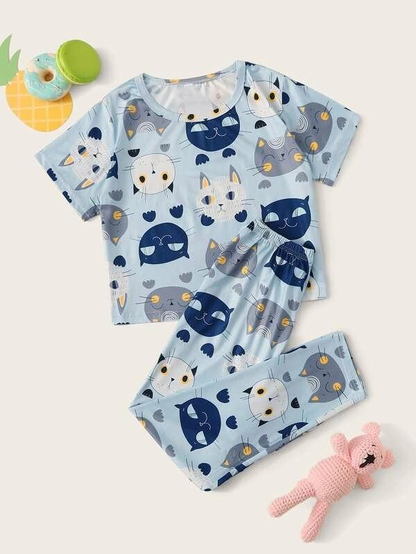 Girls Cat Print PJ Set