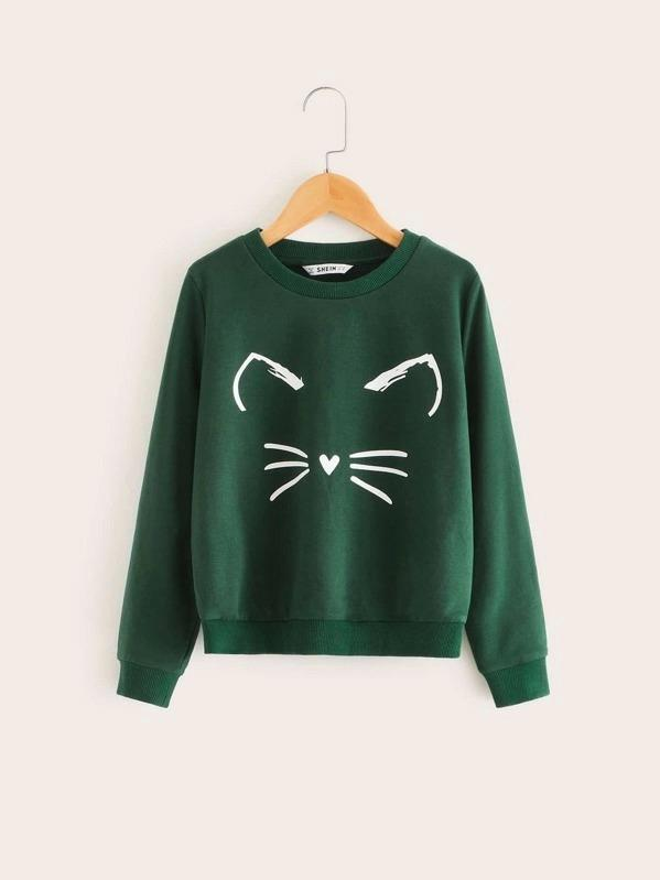 Girls Cat Print Sweatshirt