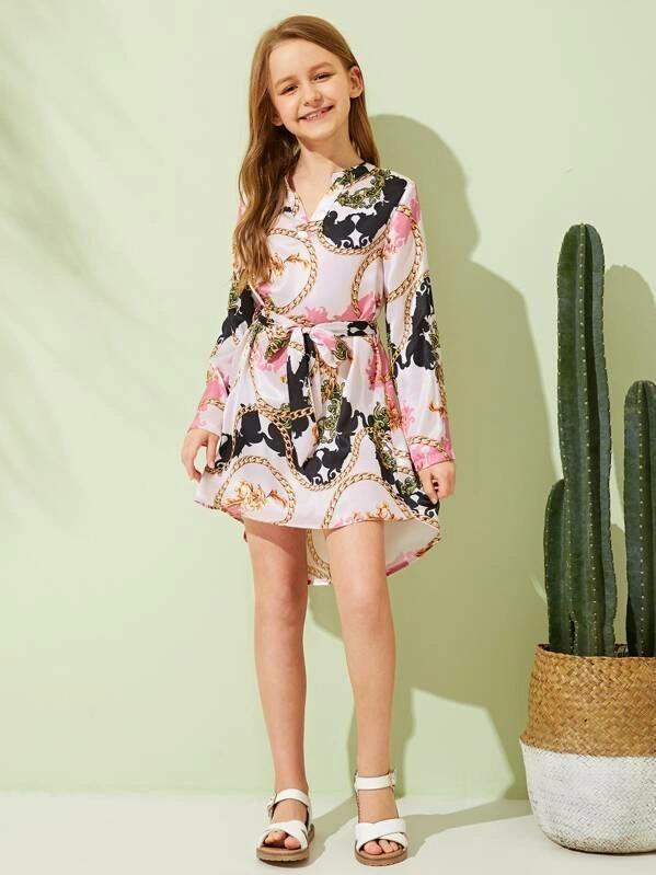 Girls Chain Print High Low Hem Belted Dress