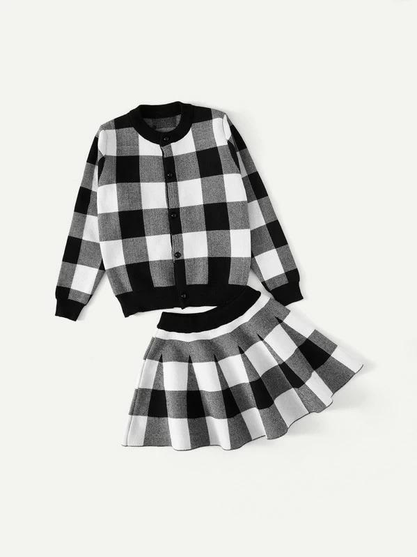 Girls Check Plaid Jacket With Skirt