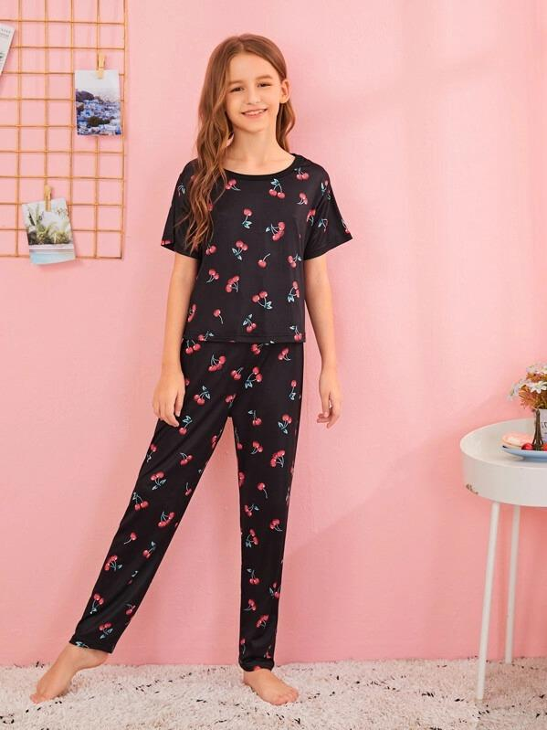 Girls Cherry Print Pajama Set