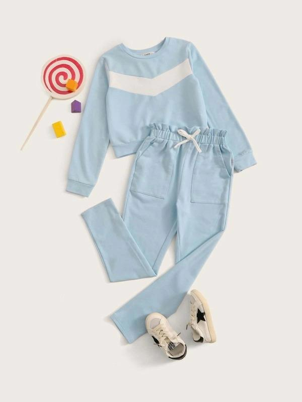 Girls Chevron Pattern Pullover & Paperbag Waist Sweatpants Set