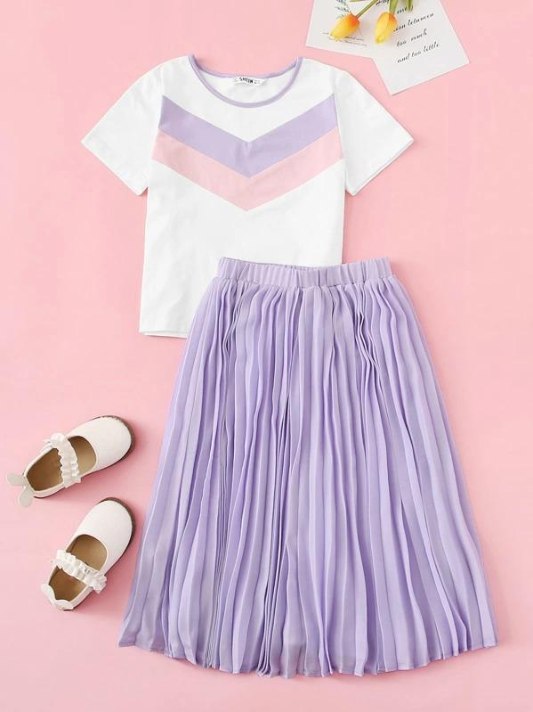 Girls Chevron Tee & Elastic Waist Pleated Skirt Set