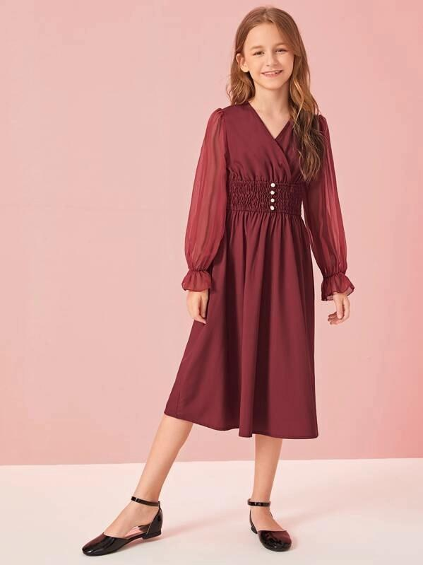 Girls Chiffon Sleeve Buttoned Shirred Waist Dress
