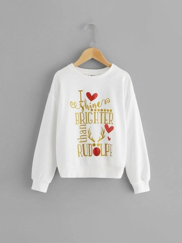 Girls Christmas Drop Shoulder Lettering Pullover