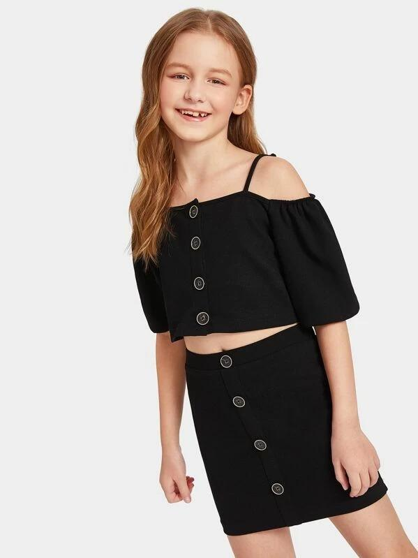 Girls Cold Shoulder Button Front Top & Skirt Set