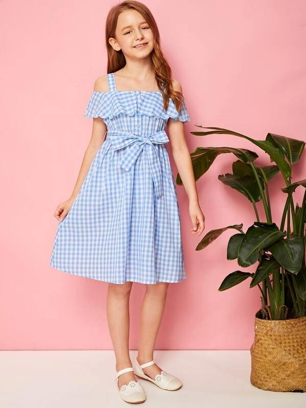 Girls Cold Shoulder Flounce Foldover Gingham Dress