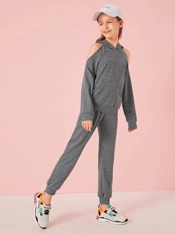 Girls Cold Shoulder Hoodie & Pants Set