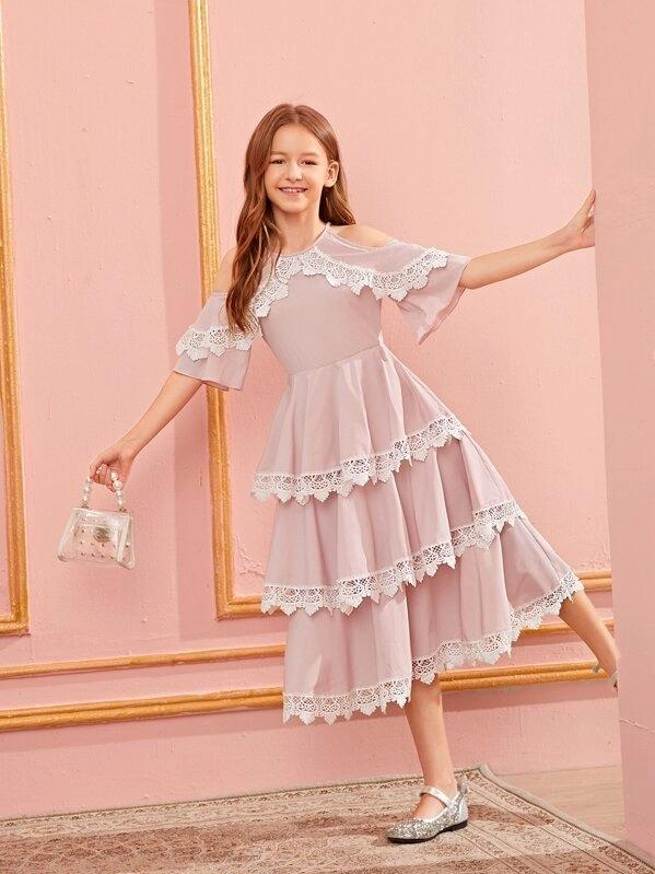 Girls Cold Shoulder Lace Detail Layered Ruffle Hem Dress