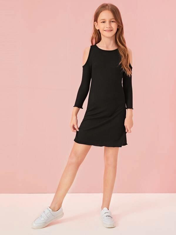 Girls Cold Shoulder Rib-Knit Fitted Dress