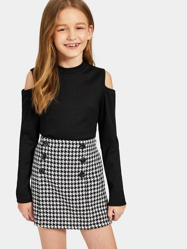Girls Cold Shoulder Rib-Knit Tee And Houndstooth Skirt Set
