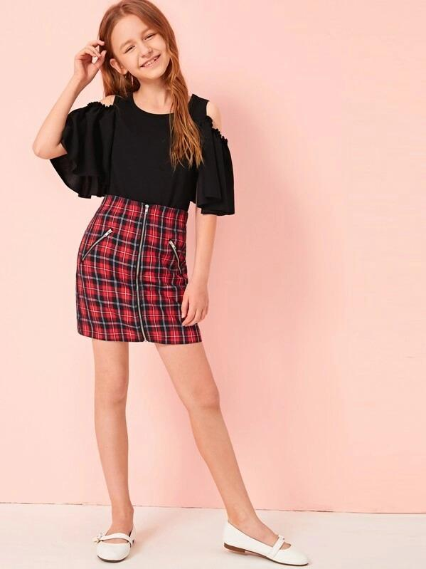 Girls Cold Shoulder Top & Zip Up Plaid Skirt Set