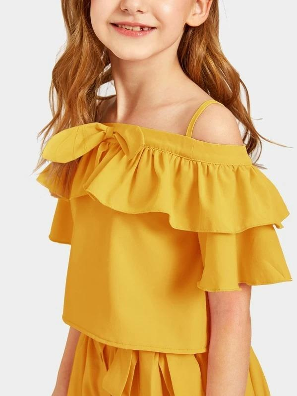Girls Colder Shoulder Ruffle Top & Button Up Belted Skirt Set