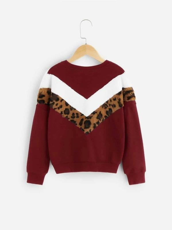 Girls Color-Block Faux Fur Chevron Pullover