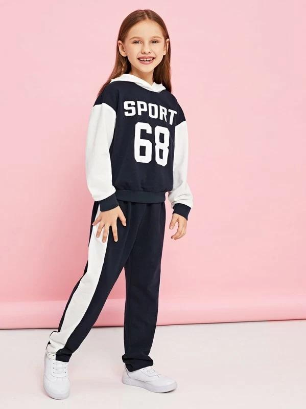 Girls Color-Block Hoodie & Pants Set