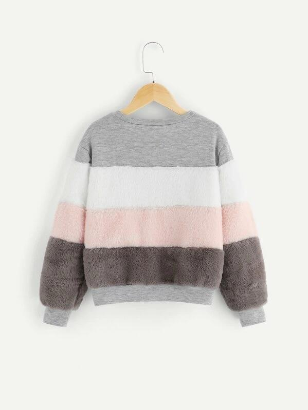 Girls Color-Block Teddy Pullover