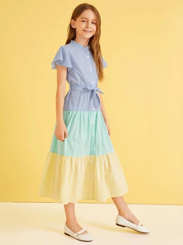 Girls Colorblock Button Fly Belted Striped Dress